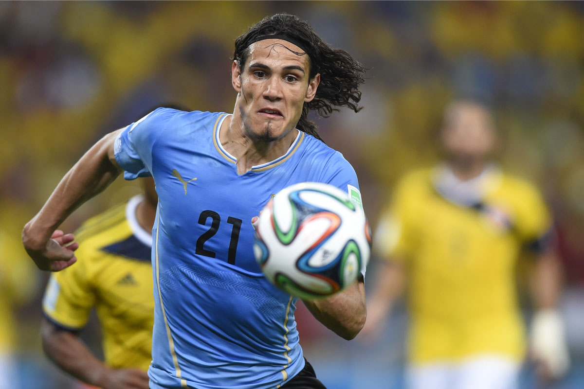 Cavani chases the ball for Uruguay