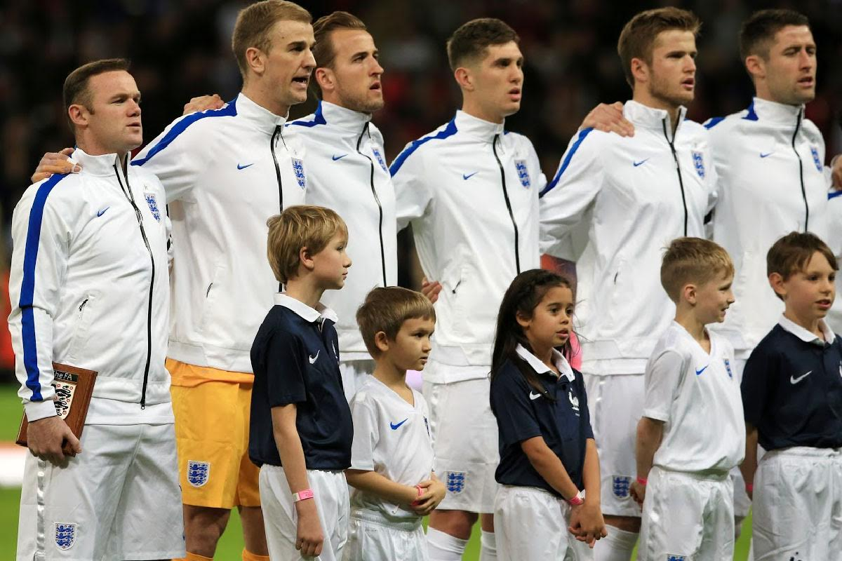England national football team sing the national anthem