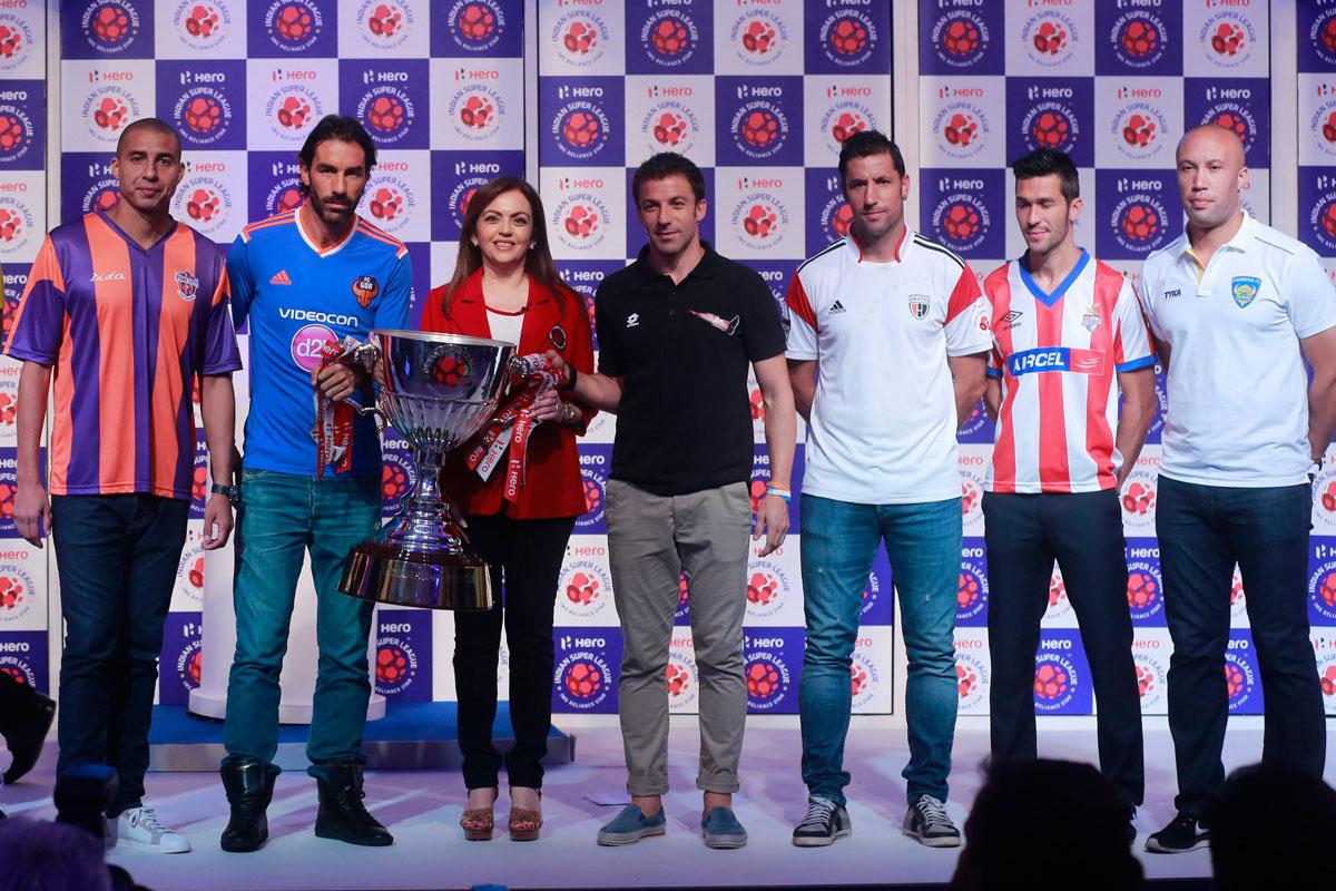 Nita Ambani poses with ISL new signings