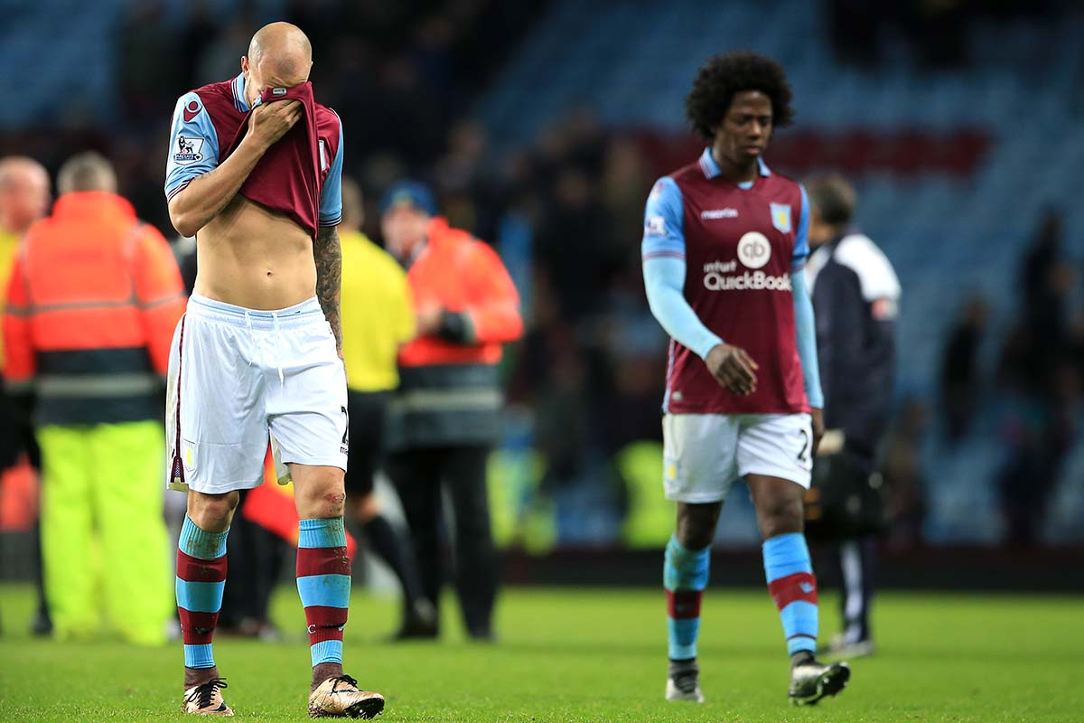 Aston Villa players after their defeat