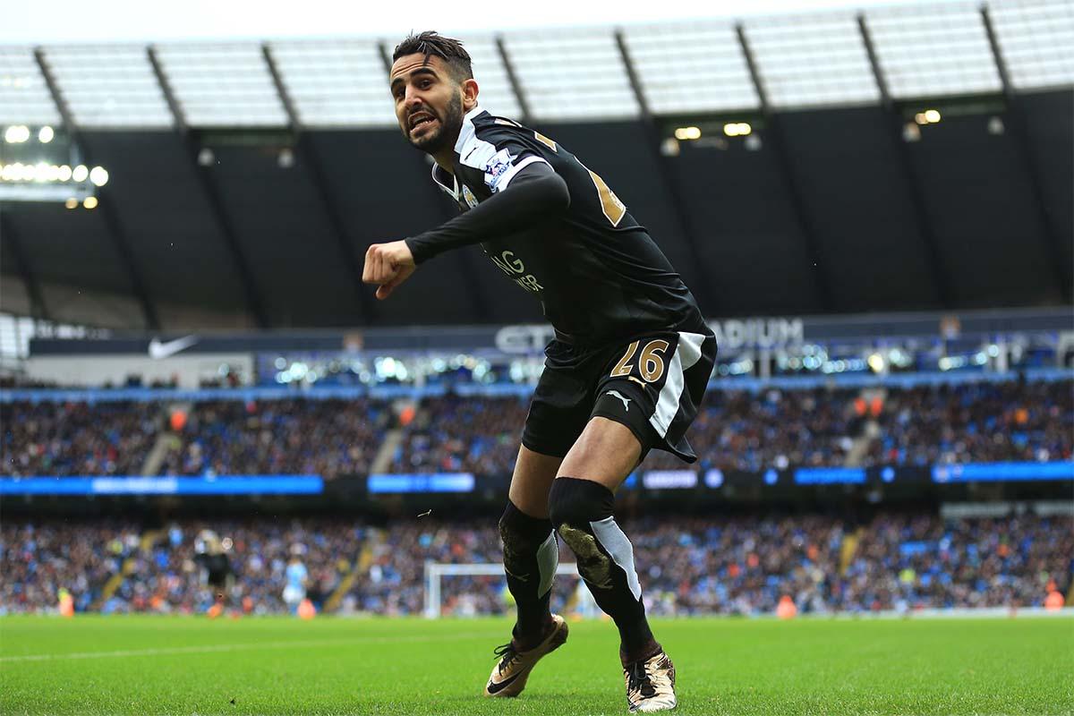 Riyad Mahrez celebrates goal