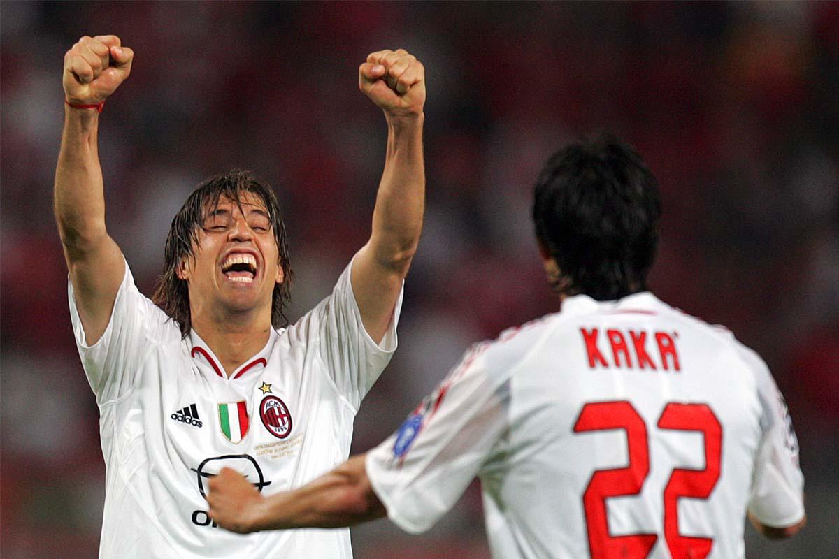 Crespo and Kaka celebrate 3rd goal