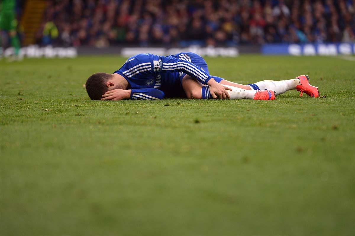 Eden Hazard injured on the pitch