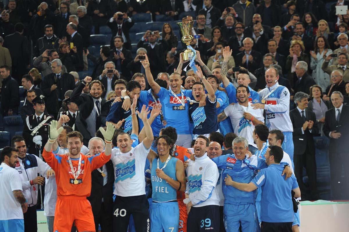 Napoli players celebrate winning the Coppa Italia