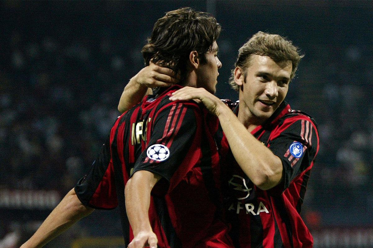 Andriy Shevchenko celebrates with Kaka