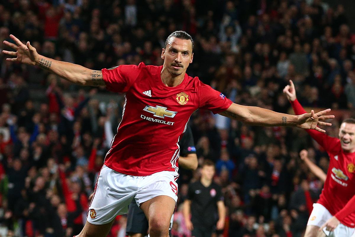 Zlatan Ibrahimovic celebrates goal