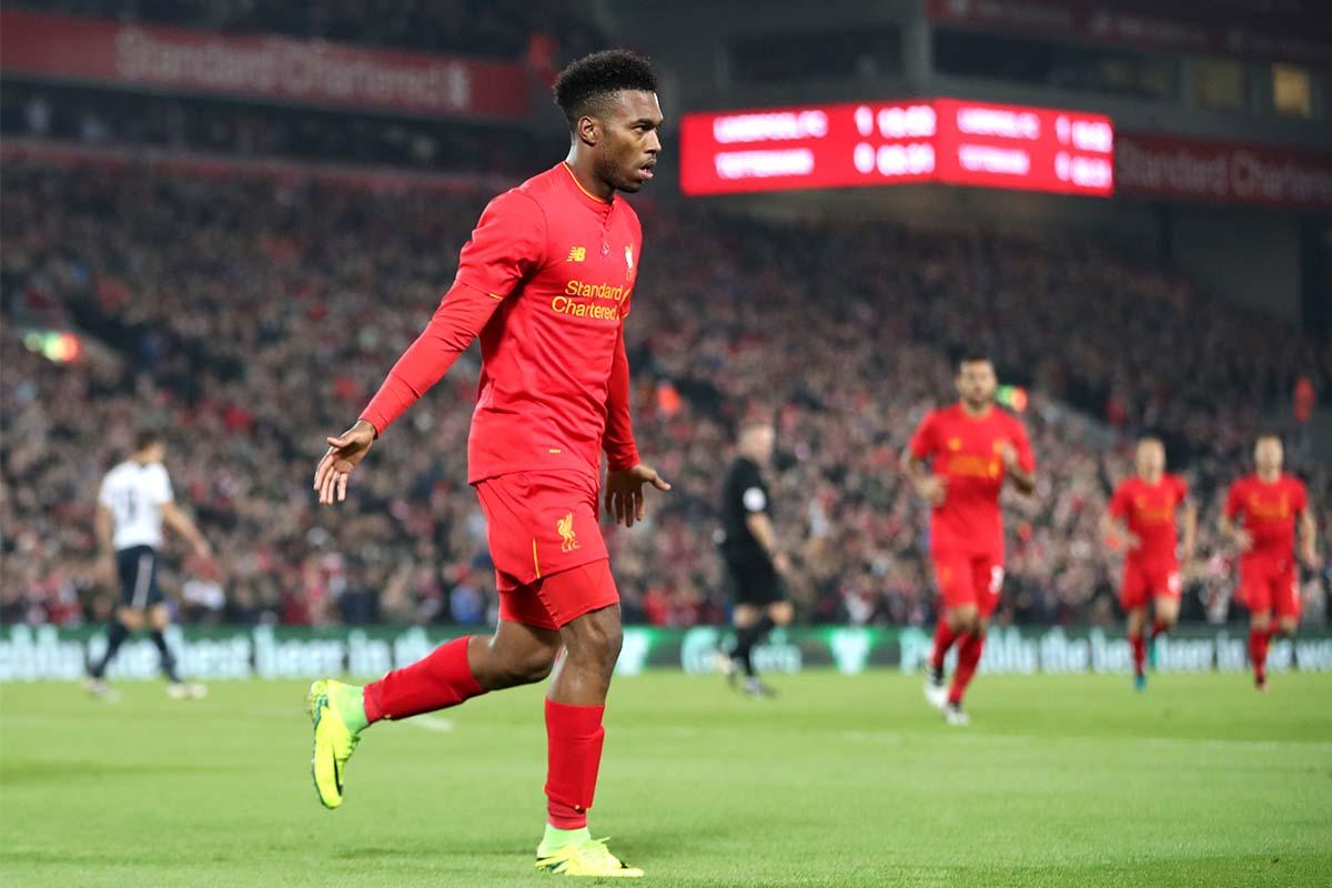 Daniel Sturridge celebrates scoring for Liverpool