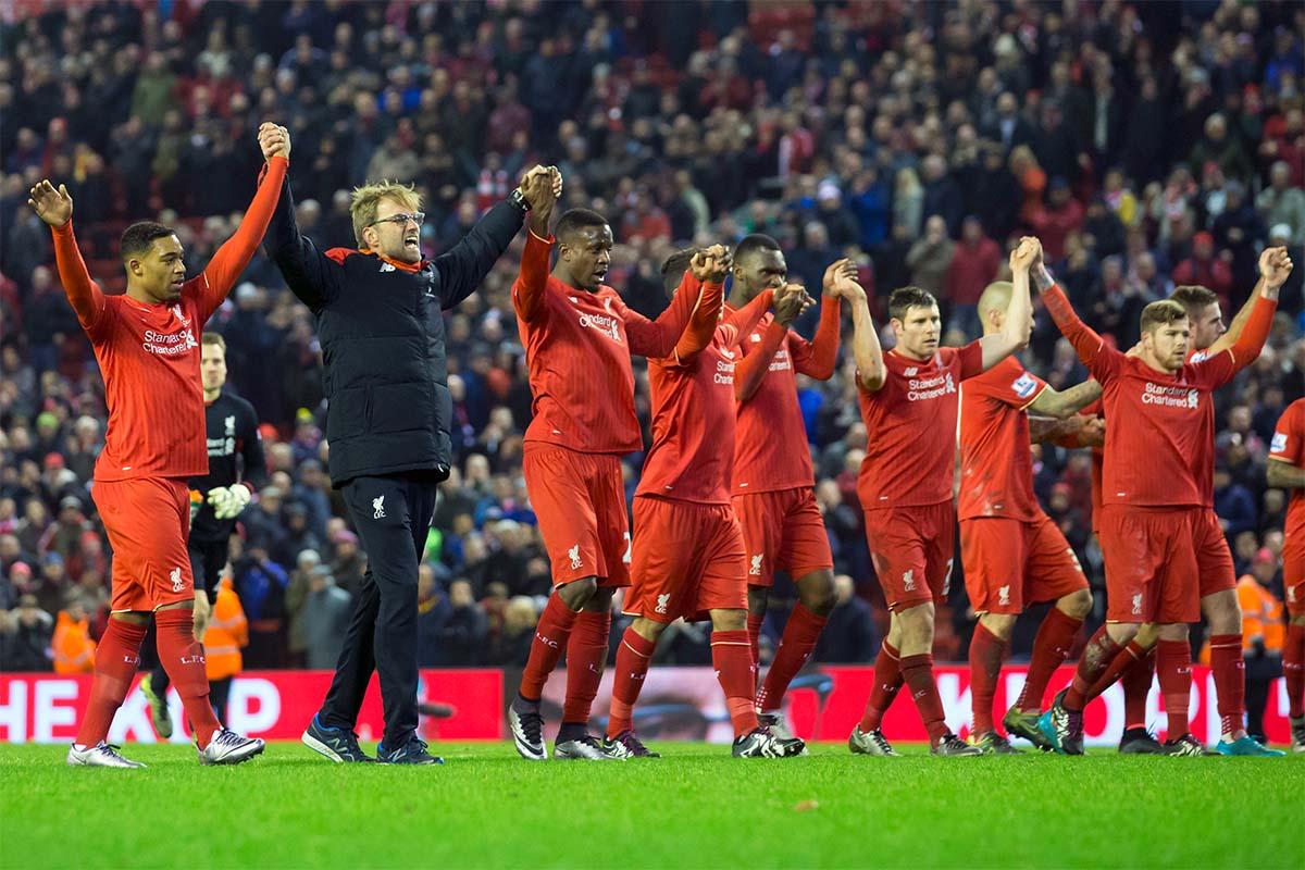 Liverpool Manager Jurgen Klopp celebrating at Anfield