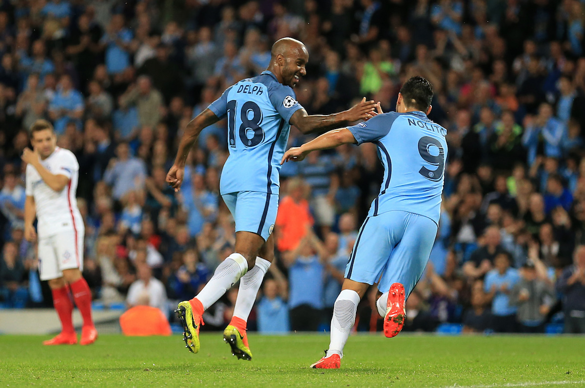 Manchester City's Fabian Delph celebrates scoring his side's first goal during the UEFA Champions League Play-off, Second Leg match at the Etihad Stadium, Manchester.