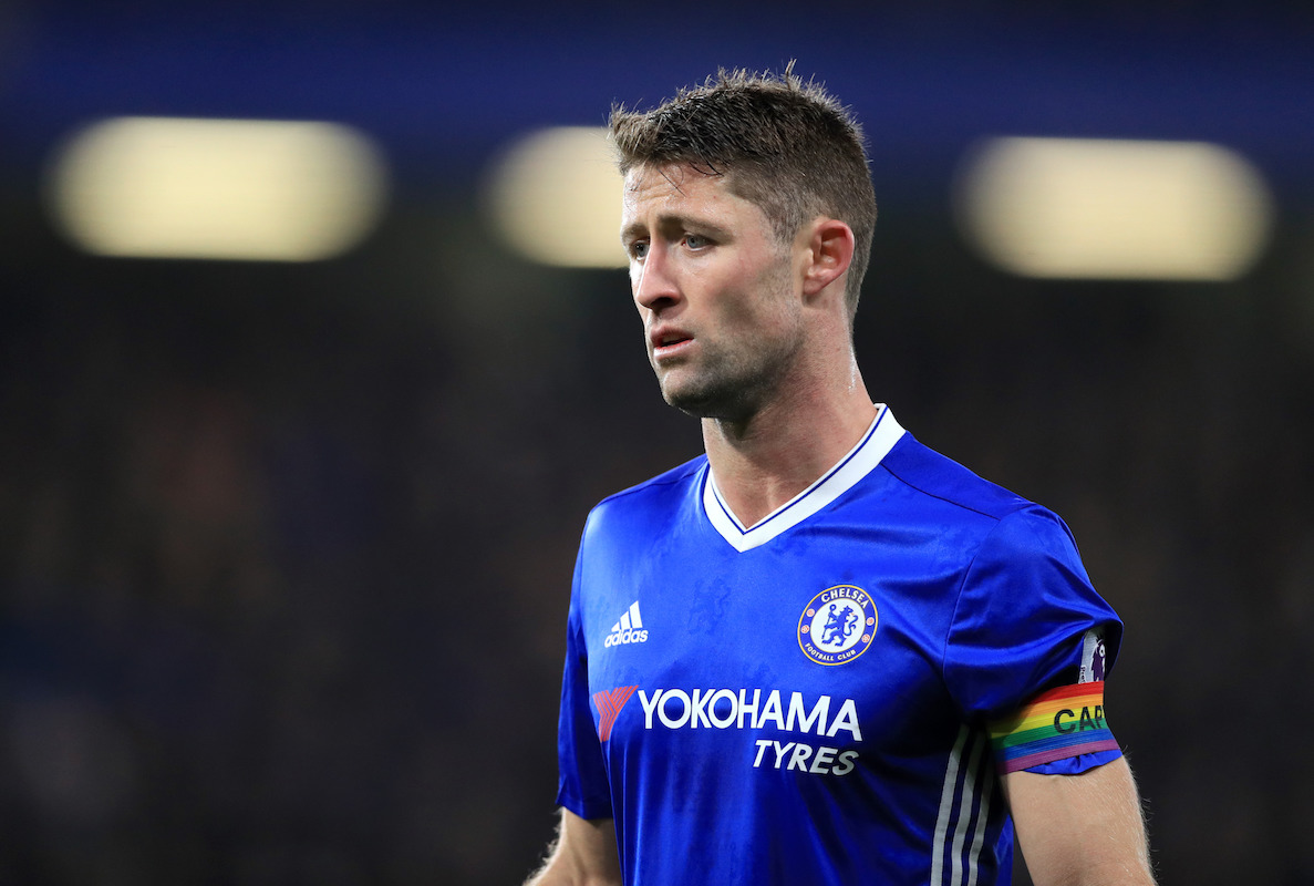 Chelsea's Gary Cahill wears a rainbow captain's armband to support a campaign helping to raise awareness of issues faced by lesbian, gay, bisexual and transgender (LGBT) fans and players this weekend.