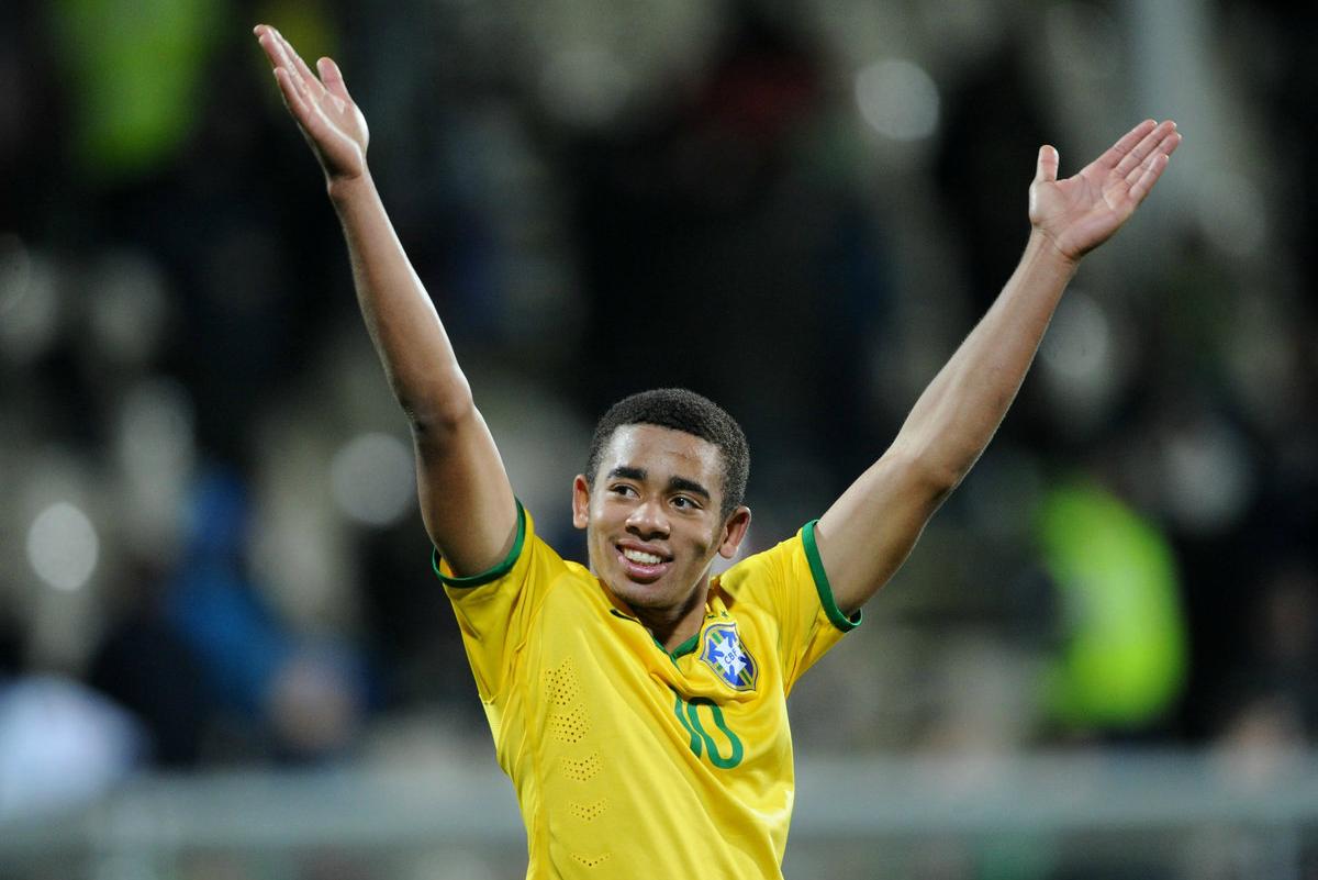 Gabriel Jesus celebrates scoring for the Brazil under-20s