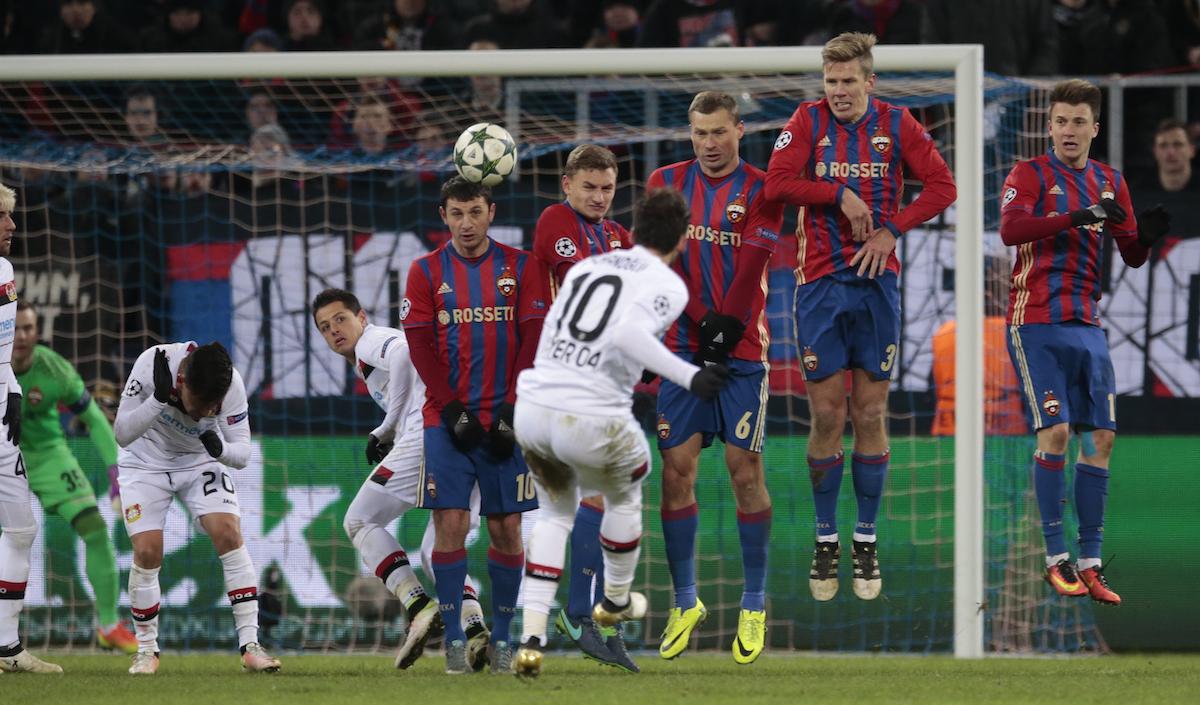 Leverkusen's Hakan Calhanoglu misses a shot during the Champions League Group E soccer match between CSKA Moscow and Bayer Leverkusen in Moscow, Russia, Tuesday, Nov. 22, 2016. (AP Photo/Ivan Sekretarev)
