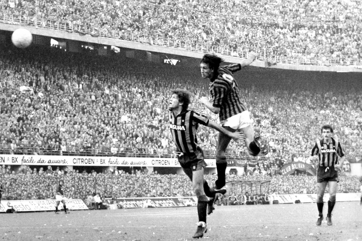 English forward Mark Hateley scores for Milan against Inter.