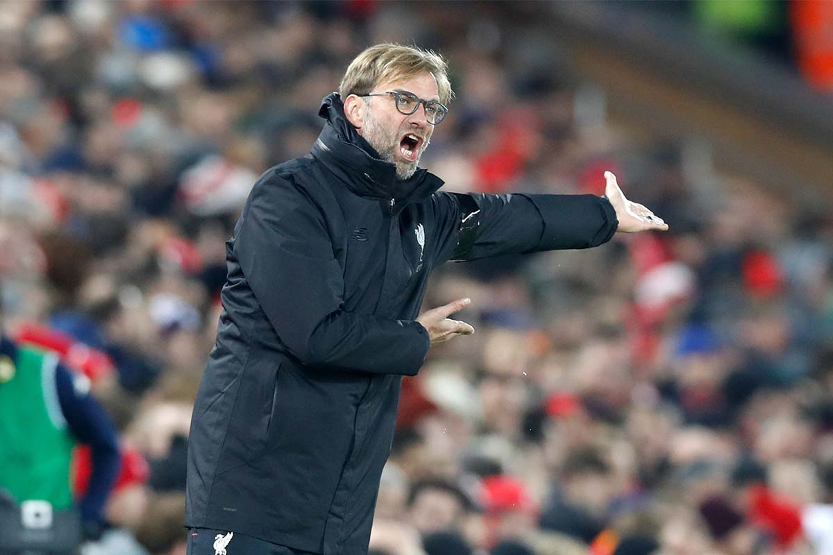 Jurgen Klopp shouting at Anfield