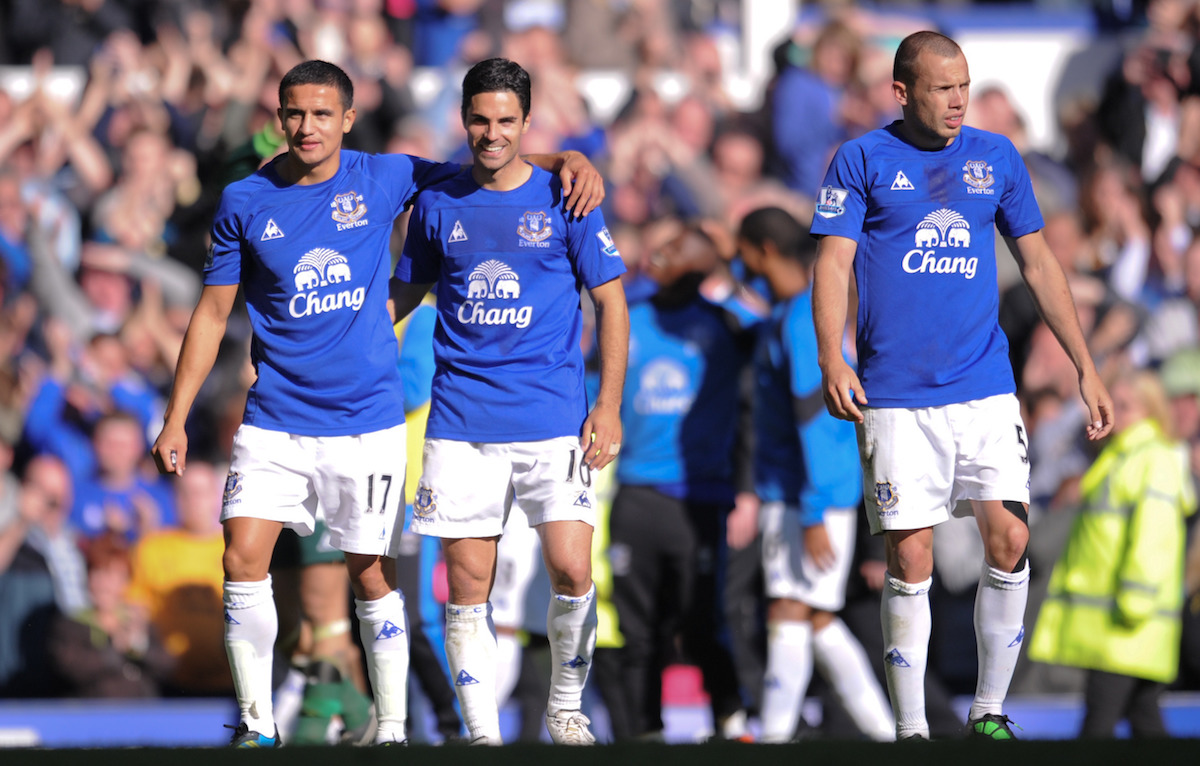 Everton's Tim Cahill , Mikel Arteta and John Heitinga after the win against Chelsea