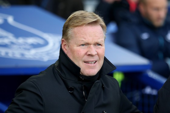 Everton manager Ronald Koeman on the touchline during the Premier League match during the Premier League match at Goodison Park, Liverpool.