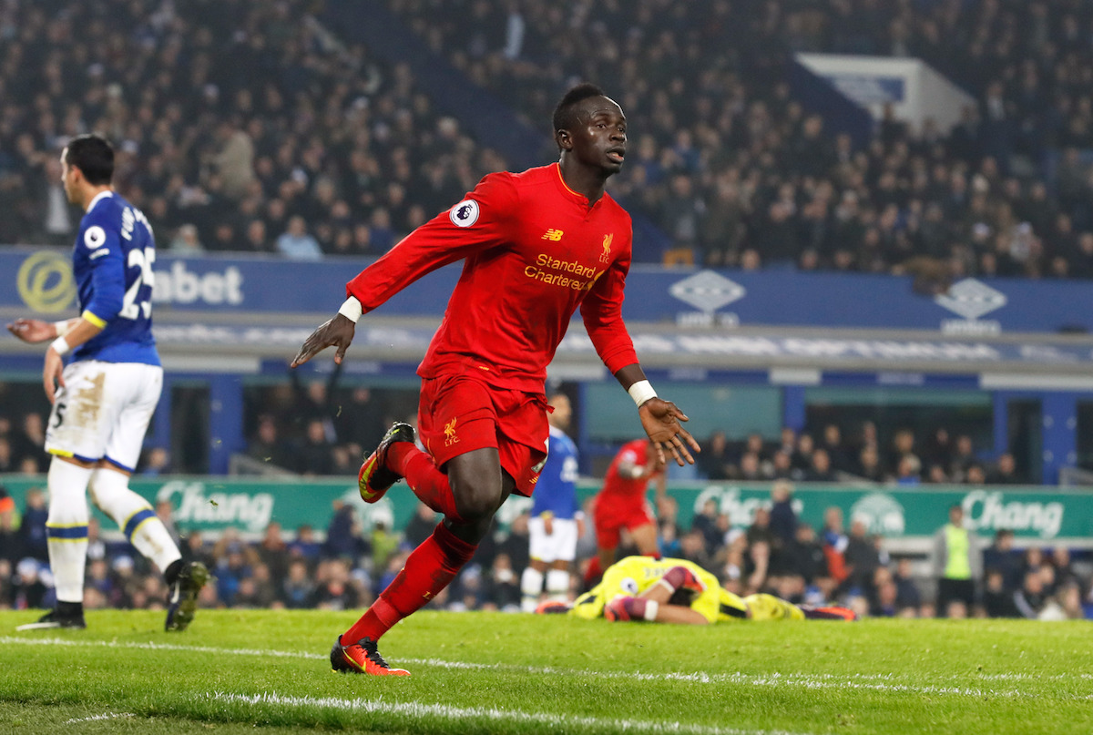 Liverpool's Sadio Mane celebrates scoring his side's first goal of the game during the Premier League match at Goodison Park, Liverpool.