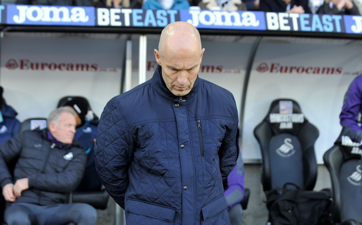 """Swansea manager Bob Bradley during the Premier League match at the Liberty Stadium, Swansea. PRESS ASSOCIATION Photo. Picture date: Monday December 26, 2016. See PA story SOCCER Swansea. Photo credit should read: Simon Galloway/PA Wire. RESTRICTIONS: EDITORIAL USE ONLY No use with unauthorised audio, video, data, fixture lists, club/league logos or """"live"""" services. Online in-match use limited to 75 images, no video emulation. No use in betting, games or single club/league/player publications."""