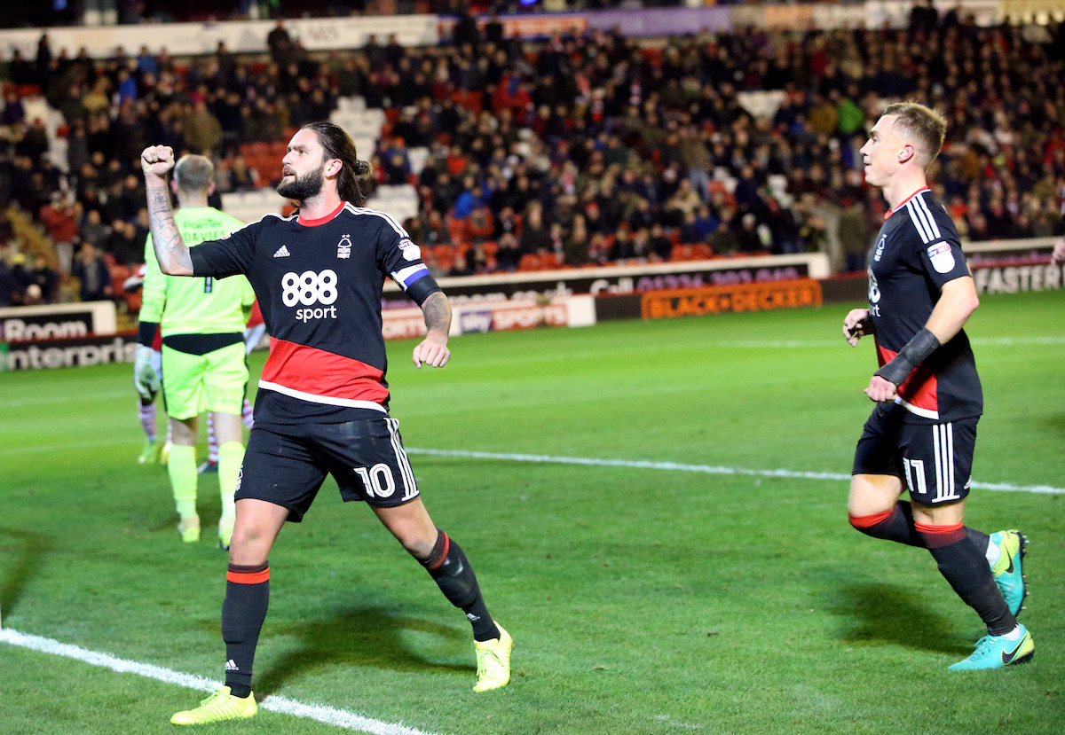 Nottingham Forest's Henri Lansbury celebrates scoring his side's fifth goal of the game to complete his hat trick