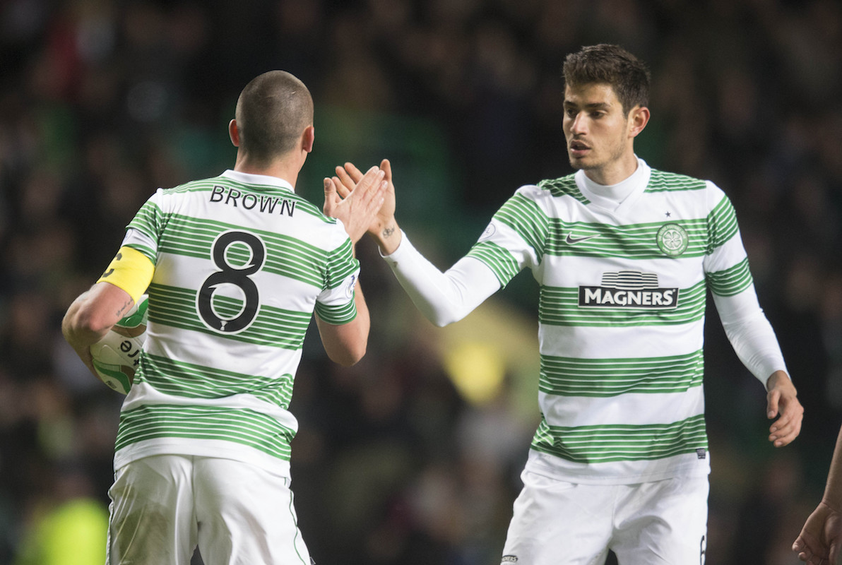 Celtic Scott Brown celebrates goal with Nir Bitton during the Scottish Premiership match at Celtic Park, Glasgow. PRESS ASSOCIATION Photo. Picture date: Wednesday April 15, 2015. See PA story SOCCER Celtic. Photo credit should read: Jeff Holmes/PA Wire. EDITORIAL USE ONLY