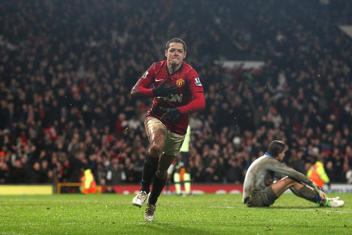 Chicharito during his time at Manchester United