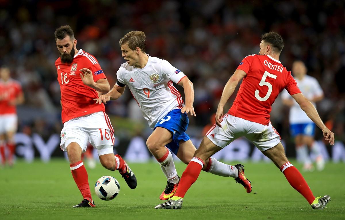 Zenit forward Aleksandr Kokorin in action for Russia