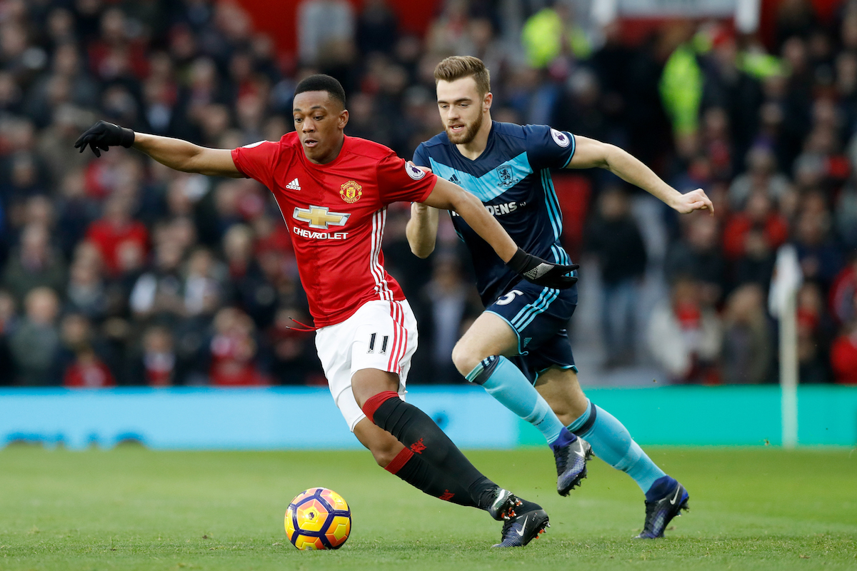 Anthony Martial during Manchester United's win over Middlesbrough