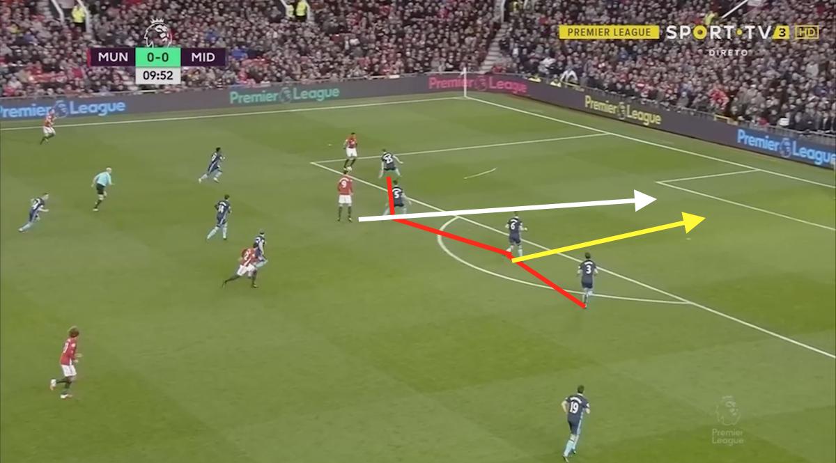 Ben Gibson defending well Zlatan Ibrahimovic