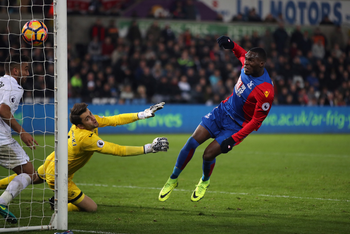 "Crystal Palace's Christian Benteke scores his sides fourth goal during the Premier League match at the Liberty Stadium, Swansea. PRESS ASSOCIATION Photo. Picture date: Saturday November 26, 2016. See PA story SOCCER Swansea. Photo credit should read: Nick Potts/PA Wire. RESTRICTIONS: EDITORIAL USE ONLY No use with unauthorised audio, video, data, fixture lists, club/league logos or ""live"" services. Online in-match use limited to 75 images, no video emulation. No use in betting, games or single club/league/player publications."