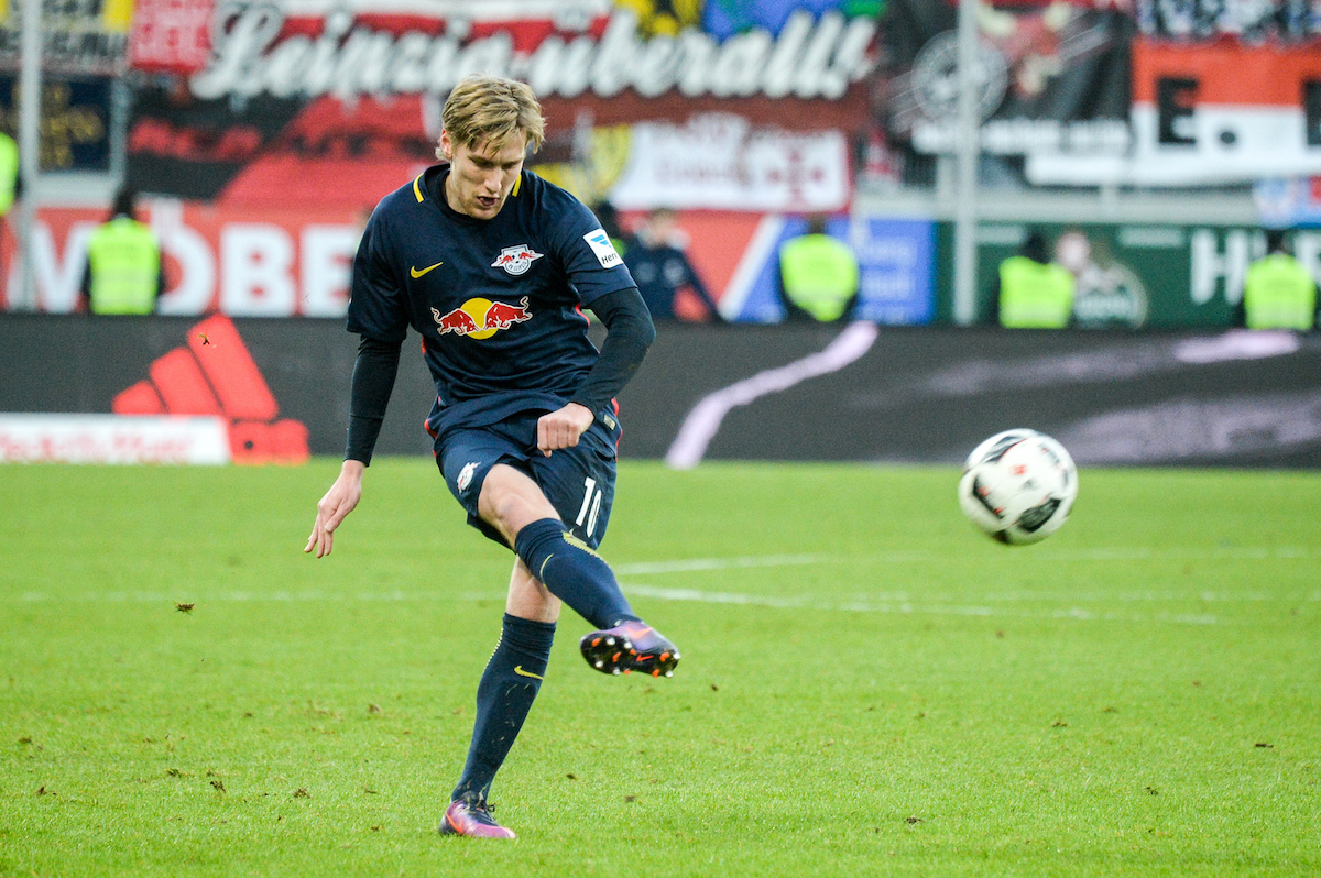 RB Leipzig's Emil Forsberg kicking the ball