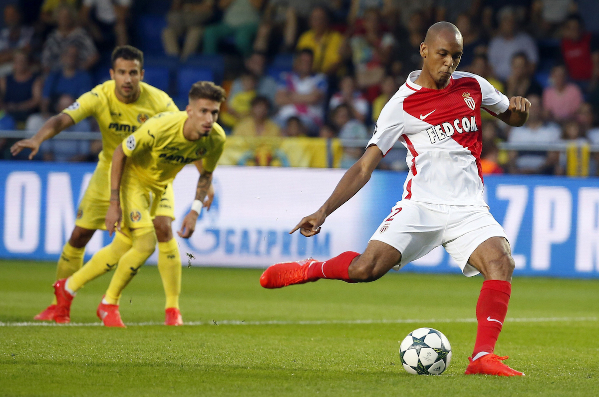 AS Monaco's Brazilian striker Fabinho Tavares scores a penalty kick against Villarreal FC during their UEFA Champions League playoff first leg match between AS Monaco and Villareal played at El Madrigal stadium in Villarreal.