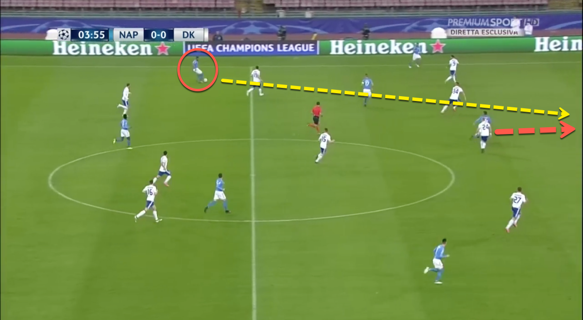 Faouzi Ghoulam Napoli through-ball