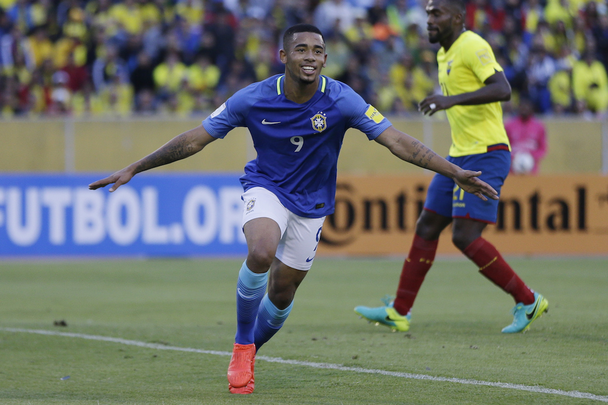Brazil's Gabriel Jesus celebrates scoring his side's second goal against Ecuador during a 2018 World Cup qualifying