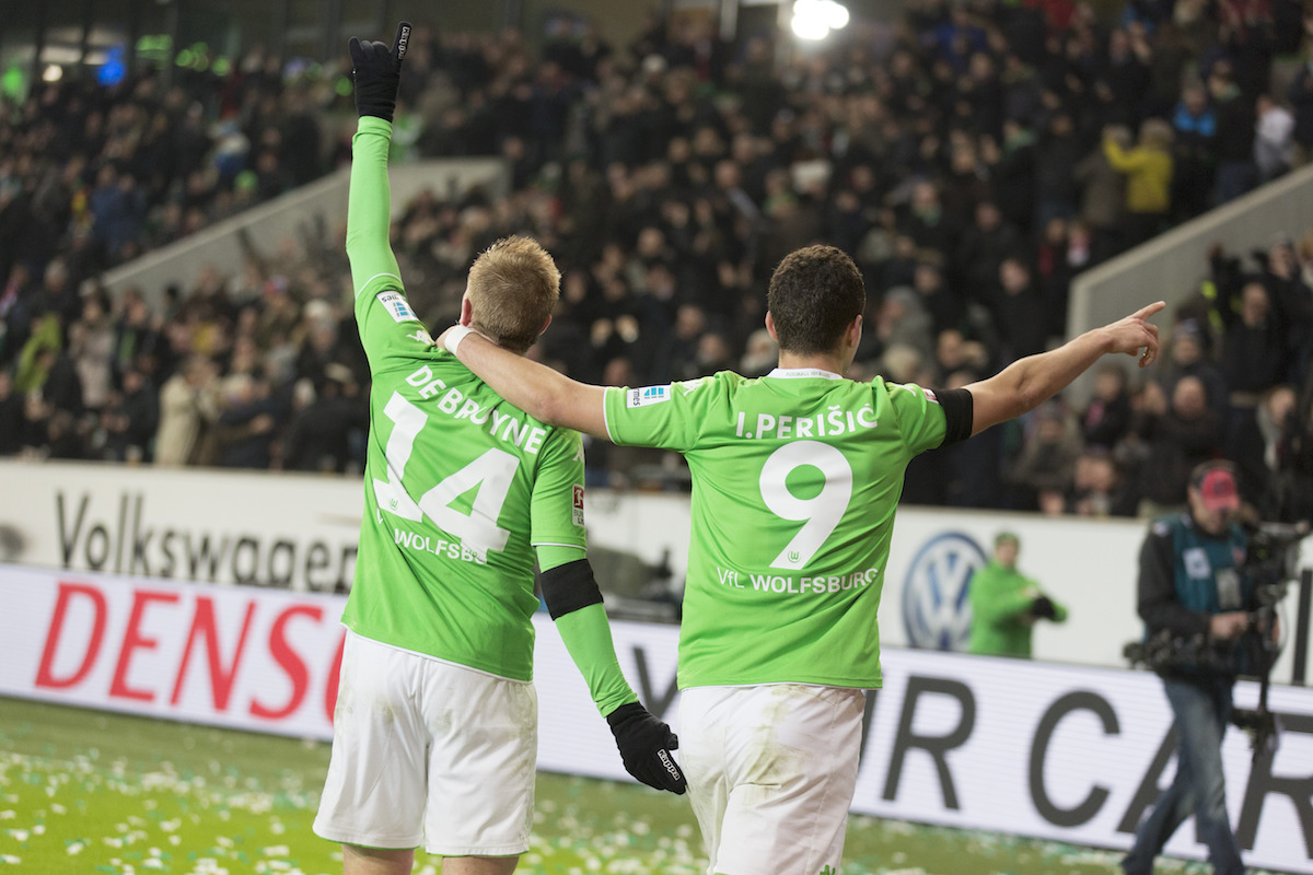 Kevin De Bruyne and Ivan Perisic celebrate for Wolfsburg