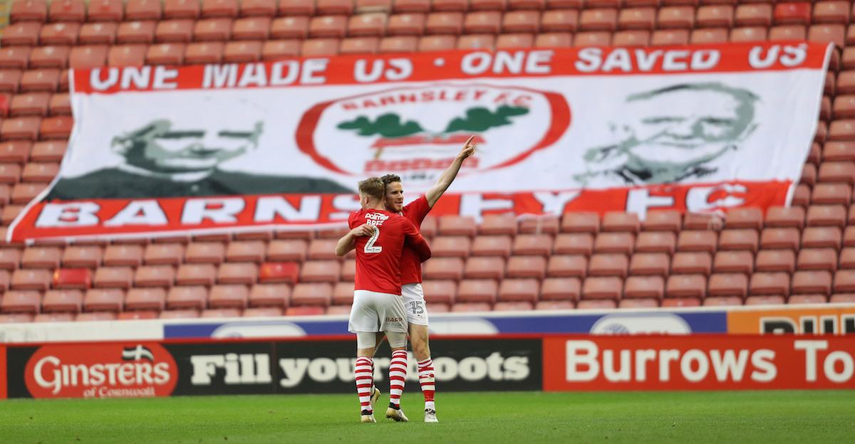James Bree celebrating for Barnsley