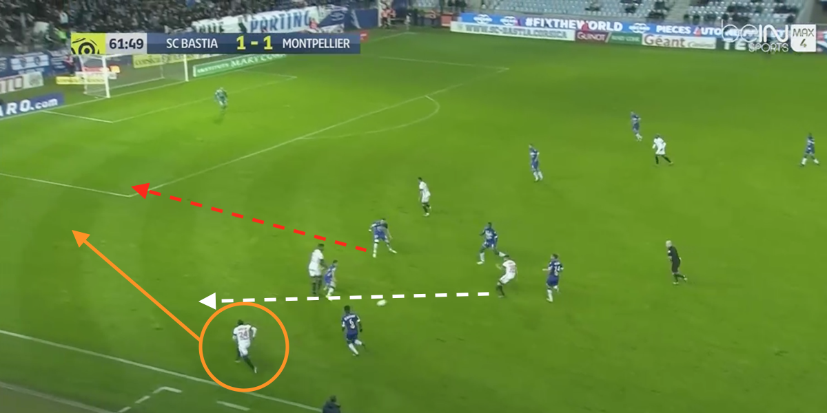 Jerome Roussillon uses his pace to attack the Bastia defence for Montpellier.