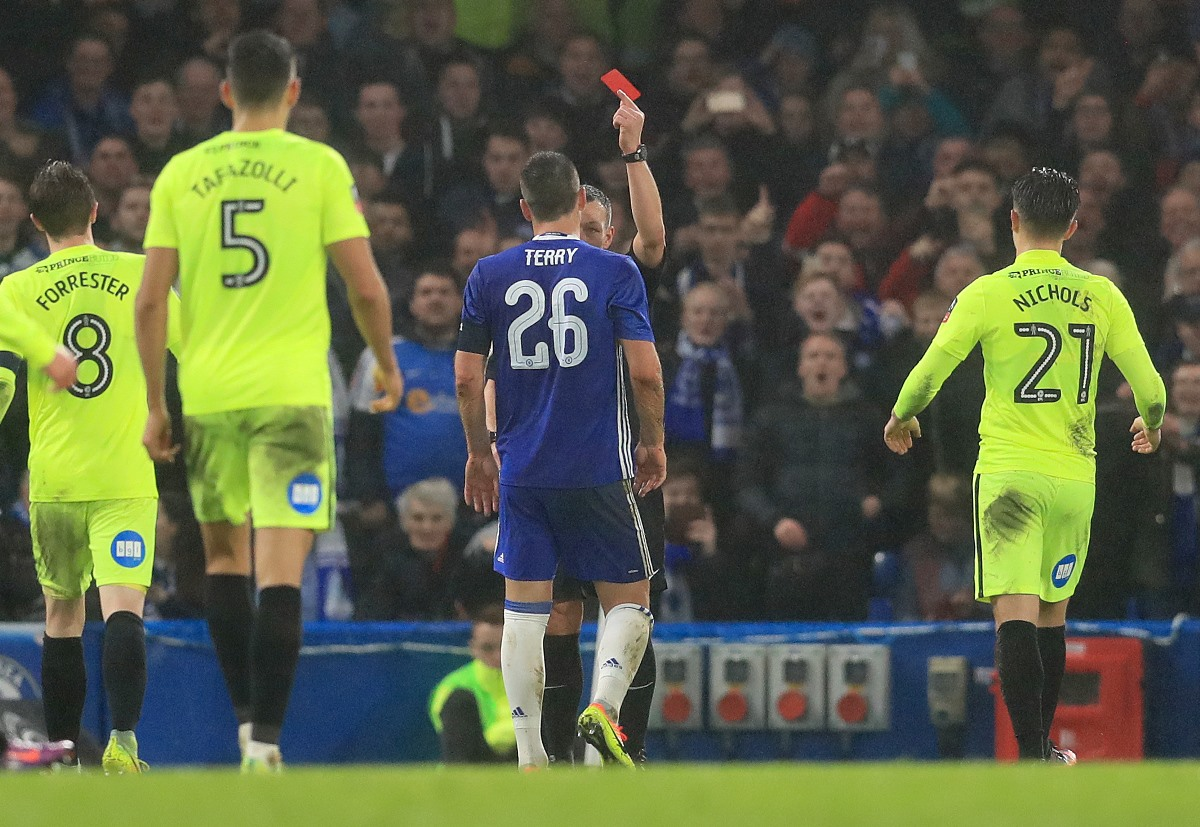 John Terry is shown a red card in Chelsea's FA Cup game against Peterborough United