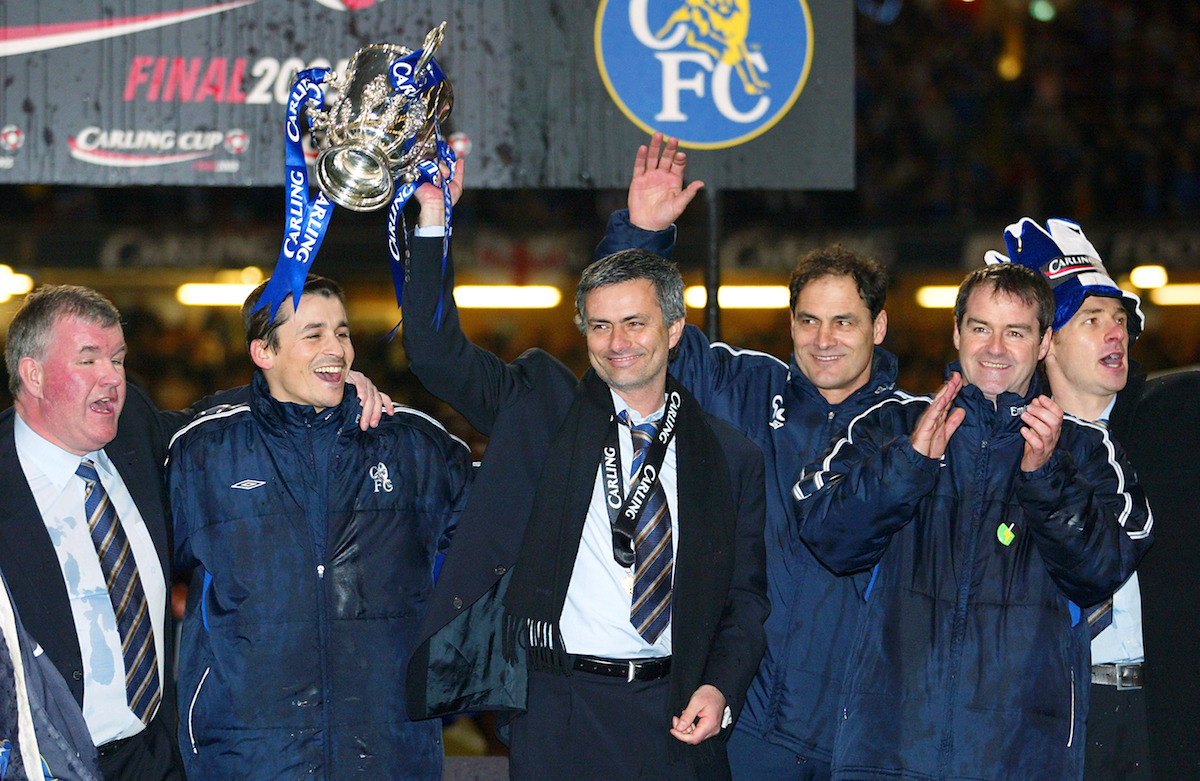 Jose Mourinho lifting the League Cup in 2005