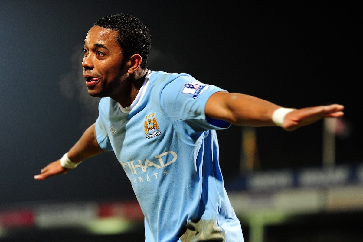 Manchester City's De Souza Robinho celebrates scoring his sides fourth goal of the game