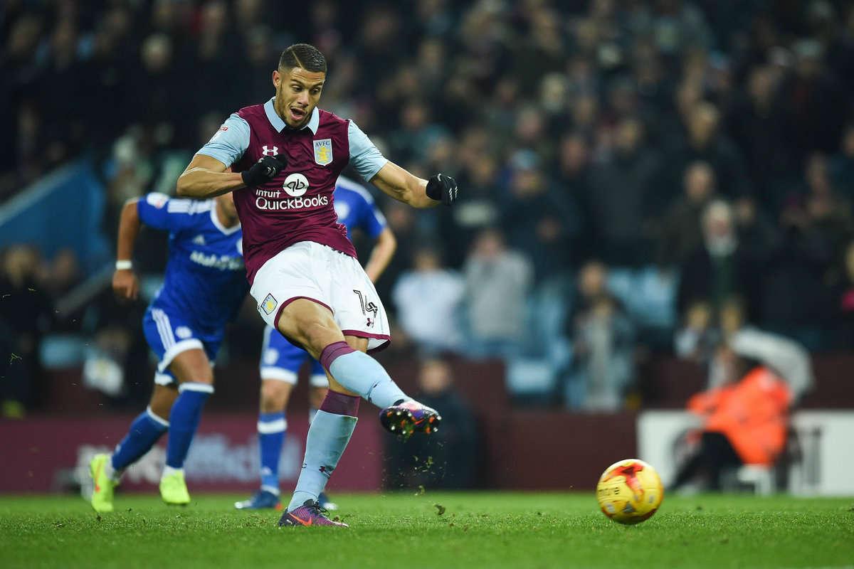 Rudy Gestede takes a penalty for Aston Villa