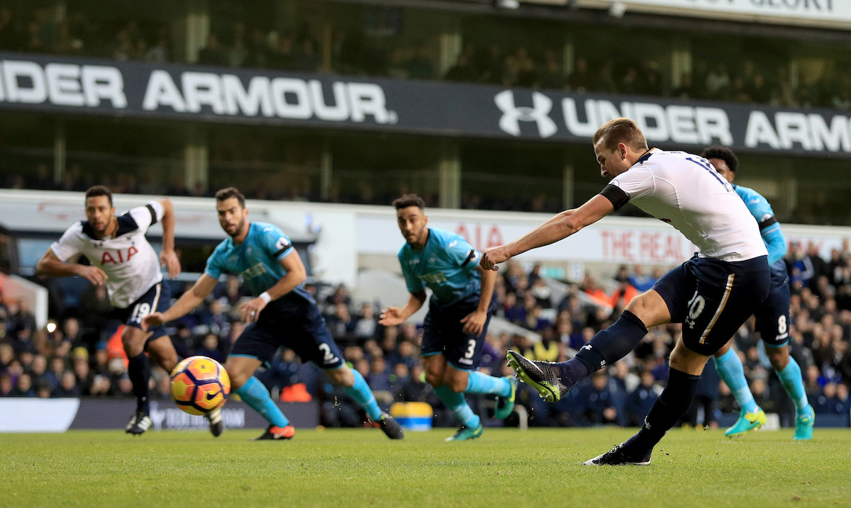 Tottenham Hotspur's Harry Kane scores his side's first goal of the game from the penalty spot during the Premier League match at White Hart Lane, London.