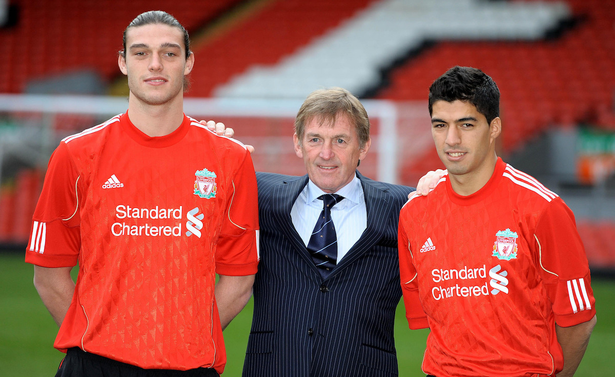 Luis Suarez with Andy Carroll and Kenny Daglish and Liverpool unveiling
