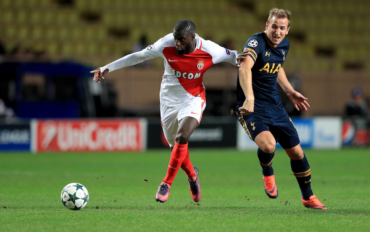 Monaco's Tiemoue Bakayoko (left) and Tottenham Hotspur's Harry Kane battle for the ball