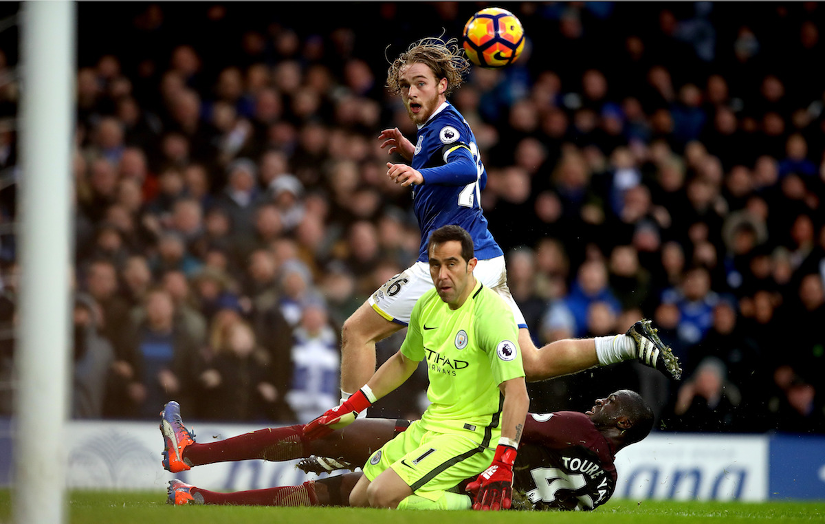 Everton's Tom Davies scores his side's third goal of the game