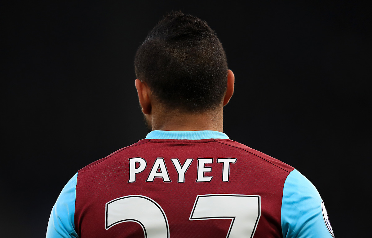 Detail of the back of West Ham United's Dimitri Payet