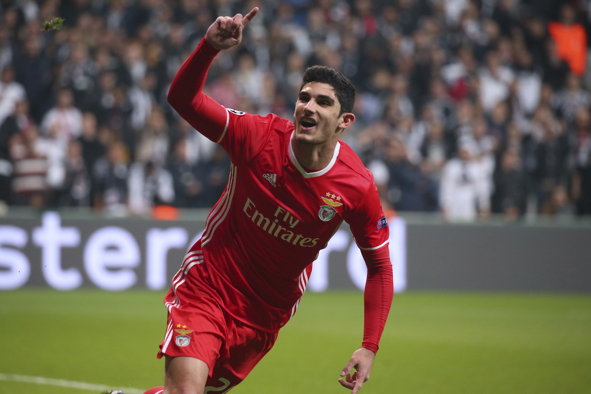 Guedes celebrates a goal for Benfica