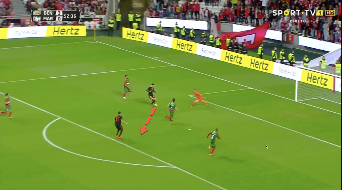 In the above images we see Guedes clear through on goal. He draws two defenders and the goalkeeper to him before passing to a Kostas Mitroglou to score.