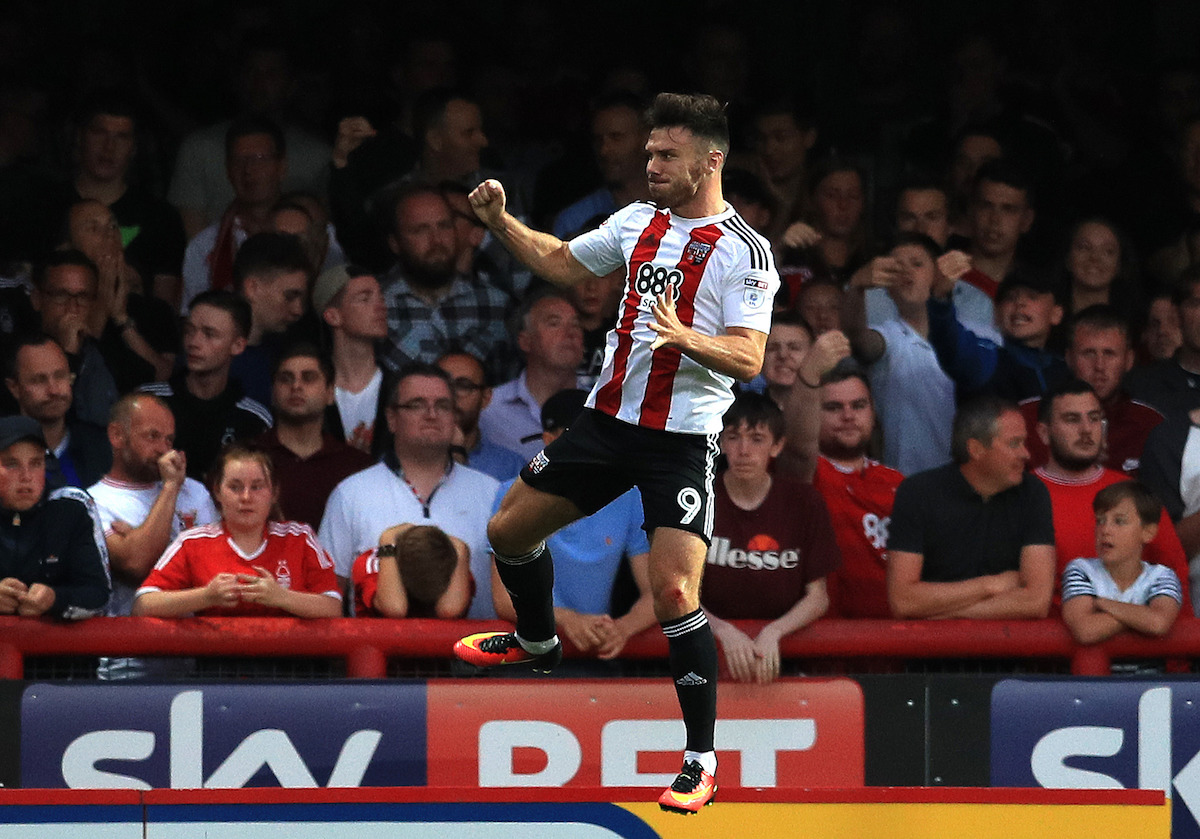 Brentford's Scott Hogan celebrates scoring the first goal