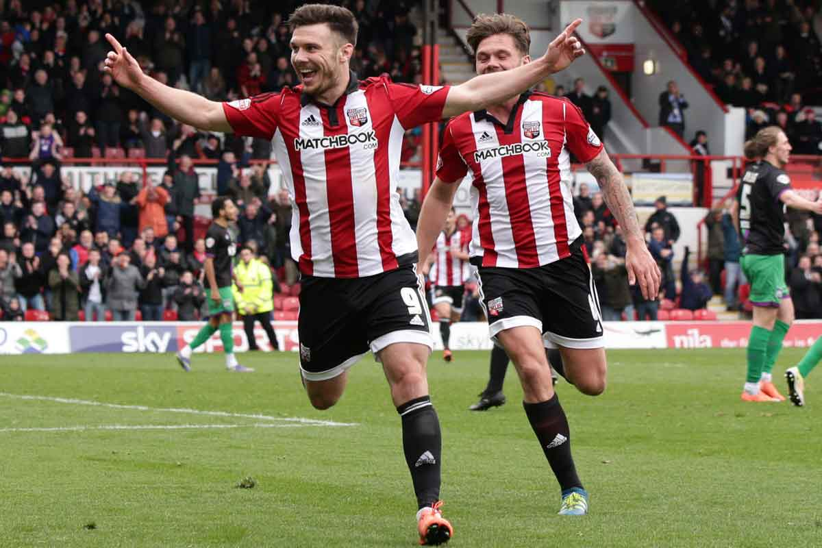 Brentford striker Scott Hogan