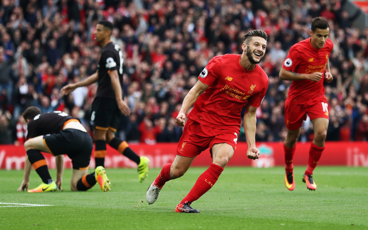 LIVERPOOL, ENGLAND - SEPTEMBER 24: Adam Lallana of Liverpool scores his sides first goal during the Premier League match between Liverpool and Hull City at Anfield on September 24, 2016 in Liverpool, England. (Photo by Julian Finney/Getty Images)